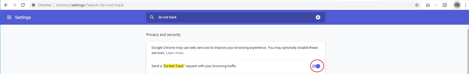 Chrome browser setting Do Not Track
