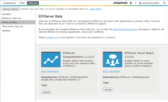 The Add-ons interface in EPiServer 7