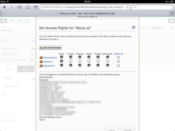 Unable to close the access rights window in EPiServer 7