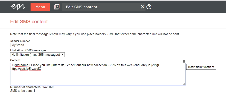 Editing SMS content in Episerver Campaign