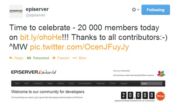 EPiServer World reached 20000 members in March 2013