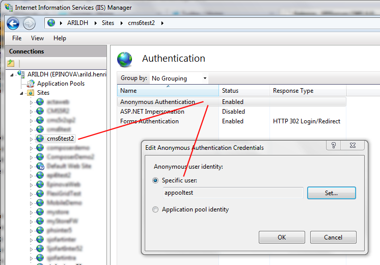 Setting the anonymous user identity in IIS