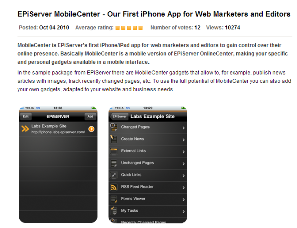 Screenshot of the Mobile Center press release at EPiServer World