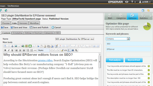 SiteAttention rates the SEO friendliness in realtime while the editor types
