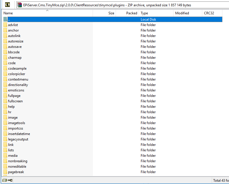 All the TinyMCE4 plugins in the Episerver nuget package